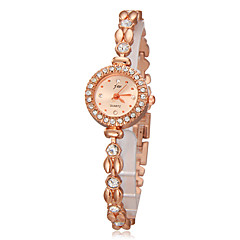 Women's Diamond Round Case Gold Alloy Band Quartz Analog Bracelet Watch Cool Watches Unique Watches Strap Watch