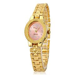 Women's Pink Dial Gold Alloy Band Quartz Analog Wrist Watch