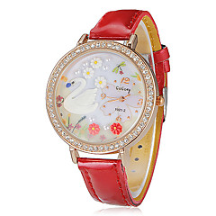 Women's Swan Pattern Diamante Round Dial PU Band Quartz Analog Wrist Watch (Assorted Colors)