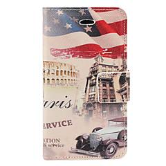 Flottement US Flag and Pattern PU Case Full Body de voiture avec fente pour carte et Stand pour iPhone 4/4S