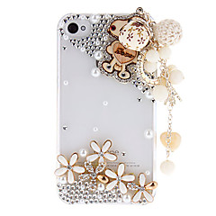 Cartoon Style Cute Dog and Jewels Covered Transparent Hard Case with Exquisite Fringe for iPhone 4/4S