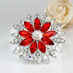 Moda Cristal Rojo Plata Broche plateada de la Mujer