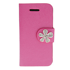 Shimmering Silk Print PU Full Body Case with Diamond Babysbreath Button and Card Slot for iPhone 4/4S (Assorted Colors)