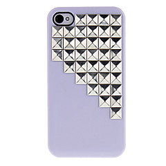 Silver Square Rivets Covered Down Stairs Pattern Hard Case with Glue for iPhone 4/4S (Assorted Colors)