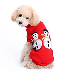 Cães Súeters Vermelho Roupas para Cães Inverno Cor Única Fofo / Mantenha Quente / Natal
