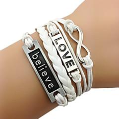 Dames Wikkelarmbanden Vintage Armbanden Chrismas Modieus Leder Stof Legering Cirkelvorm Oneindigheid Sieraden Voor Dagelijks Causaal