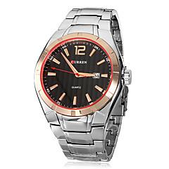 Men's Calendar Function Round Dial Steel Band Quartz Analog Wrist Watch (Assorted Colors)