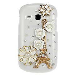 Flowers and Eiffel Tower Diamond Spot Drill Pattern White Hard Back Case Cover for Samsung Galaxy Fame S6810