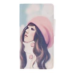 Rosa-Hatt Lång-hår Girl Drawing Mönster PU läder hud plast Hard Back Cover Påsar för Samsung Galaxy S 2 I9100