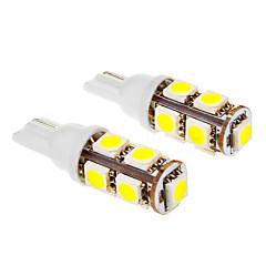 T10 1.5W 9x5050SMD 6000K Cool White Light LED Bulb for Car (12V,2pcs)