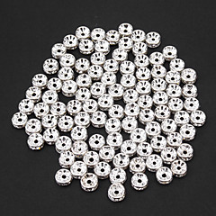 Fashion Oblate Shape Silver Crystal DIY Beads 50pcs