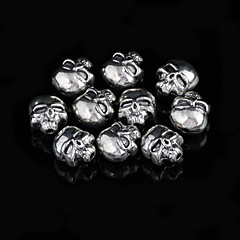 Classic Skull Silver Alloy Charms 10 Pcs/Bag (Silver)
