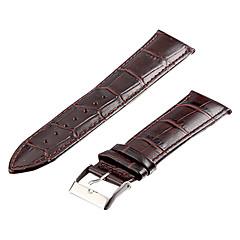 Unisex 24 millimetri coccodrillo del cuoio di grano Watch Band (marrone scuro)