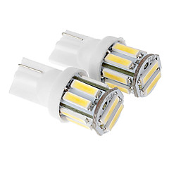 T10 3W 10x7020SMD 210LM White Light LED pære til bil (DC 12V, 2stk)