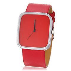 Unisexe rectangle simple Dial PU bande de montre bracelet à quartz analogique (couleurs assorties)