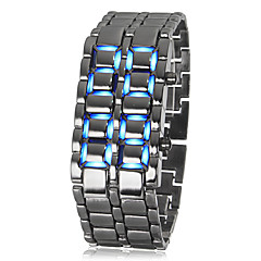 Men's Lava Style Blue LED Digital Silver Steel Wrist Watch