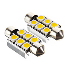 Festoon 1.4W 100LM 6x5050SMD 3000K Warm White Light Bulb LED para carro (12V, 2 peças)