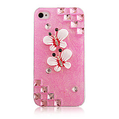 Papillon de soufre rose vif avec étui transparent diamant Cadre pour iPhone 4/4S