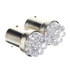 T25 1156 BA15S 0.3W 9-LED 20LM 6000K Cool White Light LED lamp voor in de auto (12V, 2 stuks)