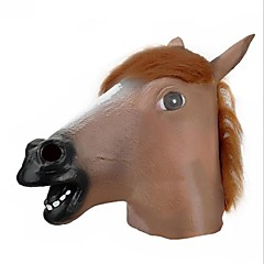 Light Brown Big Horse Head Style Latex Face Mask for Party