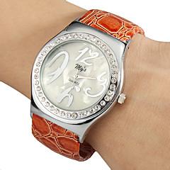 Donna semplice manopola rotonda Craquelure del grano della lega pu banda quarzo analogico della vigilanza del braccialetto (colore casuale)