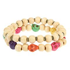 Classic 6Cm Women'S Assorted Color Wood Chain & Link Bracelet(Multicolor)(2 Pcs)