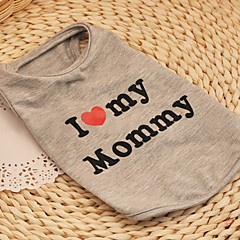 Dog / Cat Shirt / T-Shirt Gray Summer / Spring/Fall Hearts / Letter & Number Fashion