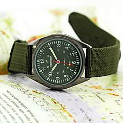 남성 밀리터리 시계 석영 섬유 밴드 손목 시계 블랙 / 그린