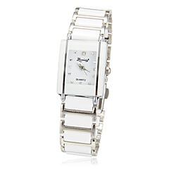 Kvinnors enkel rektangel Dial Alloy Band Quartz analog armbandsur