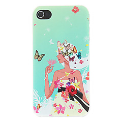 Girl Attracting Colorful Butterflies Pattern Matte Designed PC Hard Case for iPhone 4/4S