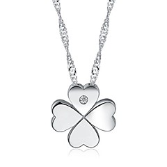 Women's Stylish Silver Four-leaf Clover Pendant Silver Necklace imitation White Gold
