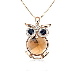 Lovely 18K Rose Gold Plated Made with Champagne Gold Crystal Owl Pendant Necklace