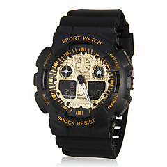 Men's Sport Style Dual Time Zones Gold Dial Rubber Band Wrist Watch (Assorted Colors) Cool Watch Unique Watch