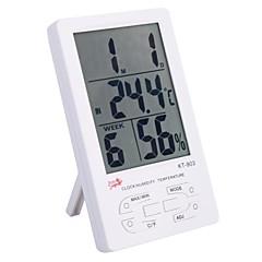"""4.4 """"LCD Digital Thermo-vochtigheidsmeter voor binnen / buiten met klok, kalender, alarm (1 * AAA)"""
