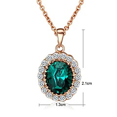Crystal Sapphire Green Stone Pendant Necklace