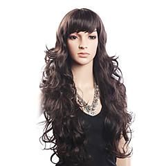 Hoge kwaliteit 20% human hair & 80% hittebestendige vezel haar Capless lange golvende Pruik (Blonde)