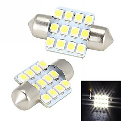 Merdia Pinol 31mm 12x3528SMD LED hvidt lys til bil Steering Light Bulb - (2 stk / 12V)