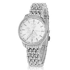 여성 간단한 둥근 강철 밴드 석영 아날로그 손목 시계