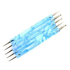 5st 2-Way nagel konst Öronmärkningar Blue Waves Handtag Dot verktyg s Kit