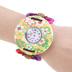 Women's Yellow Flower Pattern Wood Case Elastic Lovely Band Quartz Bracelet Watch Cool Watches Unique Watches