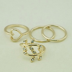 European Heart Shape Gold Women'S Clear With Cubic Zirconia Midi Rings(4 Pcs)