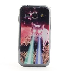 Cat with Laser Eyes Pattern PVC Back Case for Samsung Galaxy Ace 3 S7272