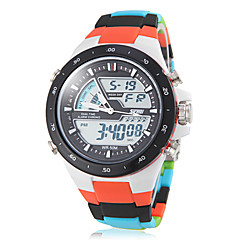 Unisex Analog-Digital Colorful Plastic Band Multi-Functional Sporty Wrist Watch