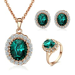 New Style 18K Rose Gold Plated Austria Crystal Sapphire Stone Pendant Necklace Earrings Ring set