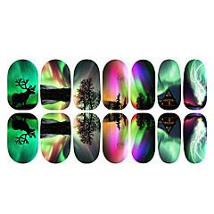 12PCS Colorful Aurora And Elk Luminous Nail Art Stickers