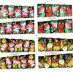 4ni1 Drukowanie kolorowe Nail Art kwiat wody transferu Naklejki