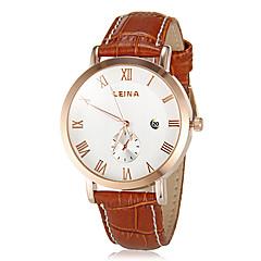 Men's Business Style Roman Numerals Gold Case Leather Band Quartz Wrist Watch (Assorted Colors)