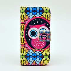 Diamond Puzzle Owl Design Full Body Case with Stand and Card Slot for iPhone 5/5S