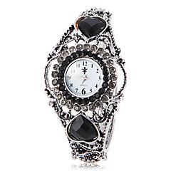 Women's Bohemia Style Black Crystal Silver Alloy Quartz Bracelet Watch