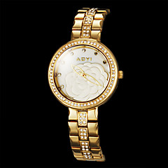 Rose Motif de la femme cadran rond en alliage de quartz de bande de montre-bracelet analogique (couleurs assorties)